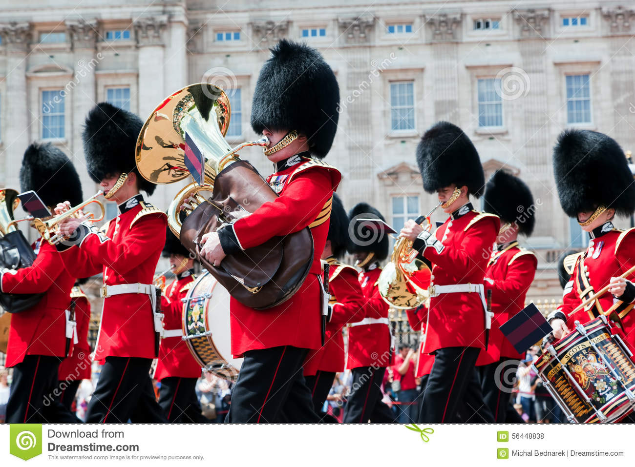 British Royal Guards, The Military Band Perform The Changing