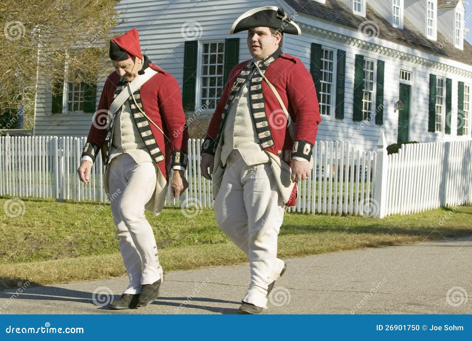 British soldiers walk