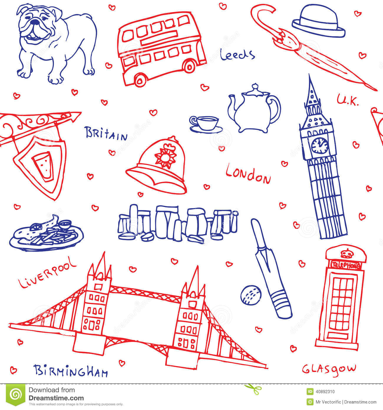 british symbols and icons seamless pattern illustration 40892310