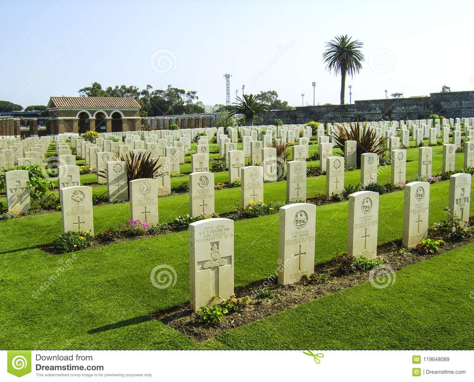 Britse Oorlogsgraven in Anzio-Begraafplaats, soth van Rome, Italië