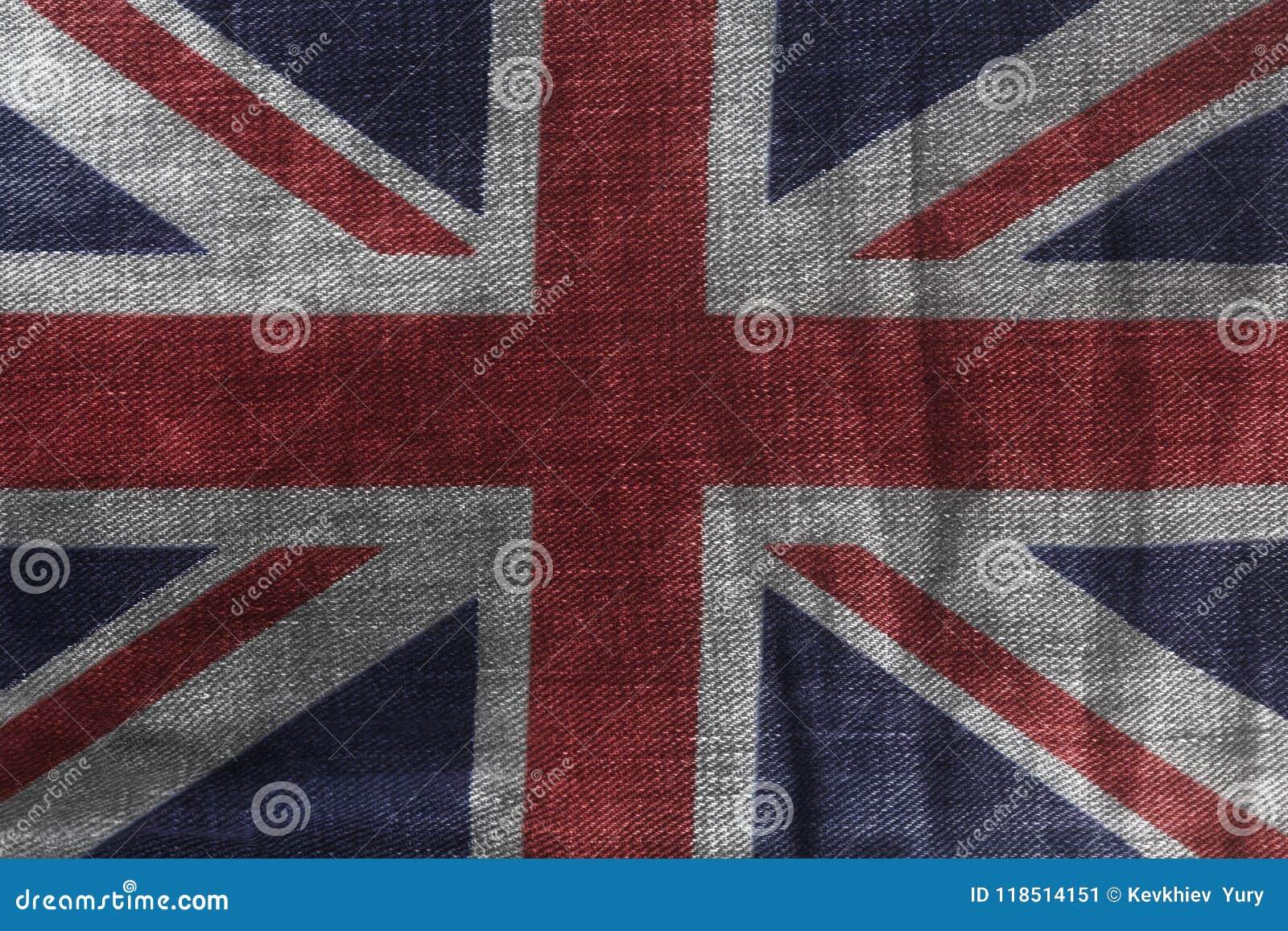 Britse vlag op de Textuur van het Jeansdenim