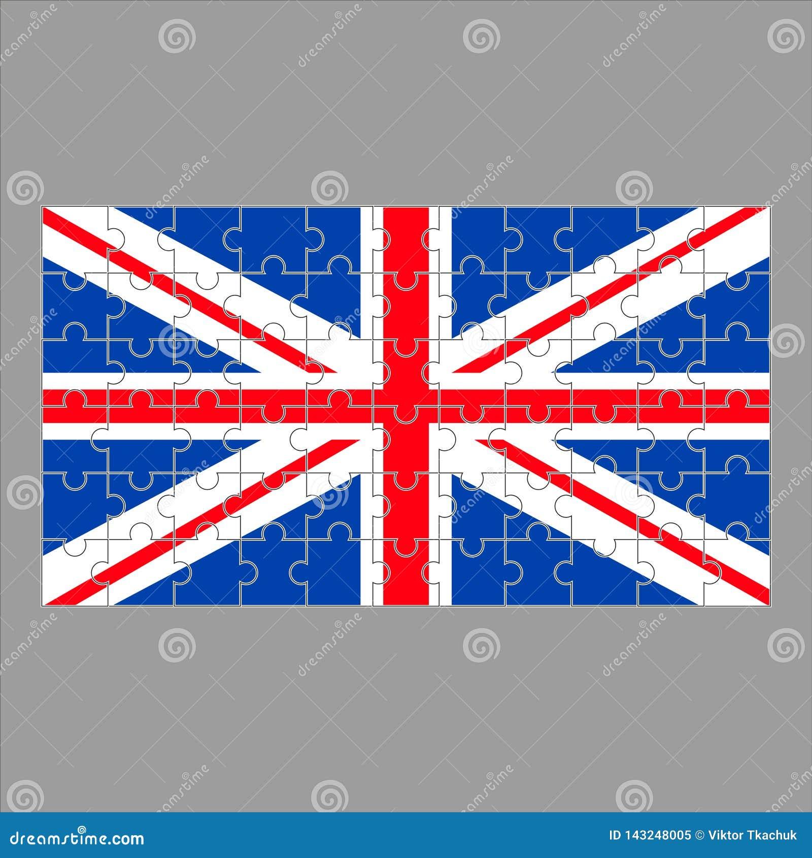 Britse vlag van raadsels op grijs