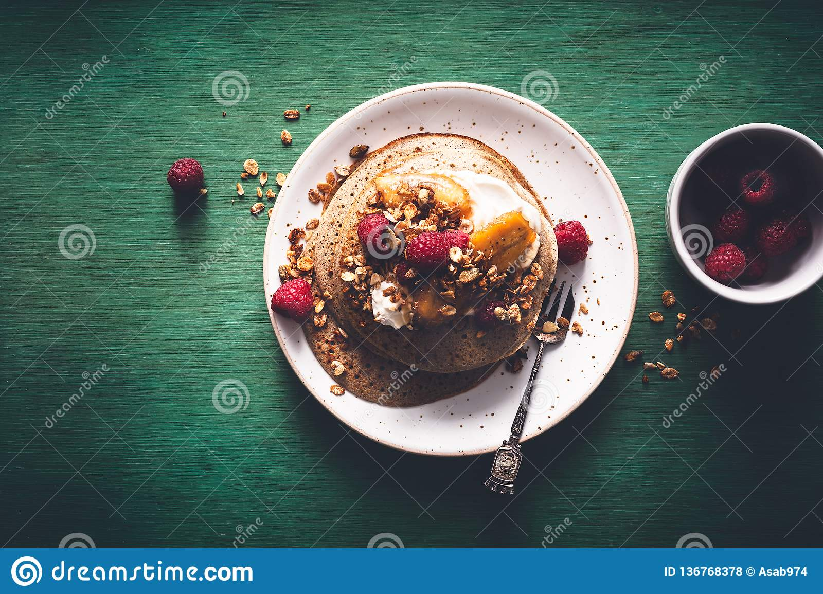 Brittany Galette or Pancake or Crepe for Breakfast with Caramelized Banana, Yogurt , Granola and Raspberries. French Crepe For Ch