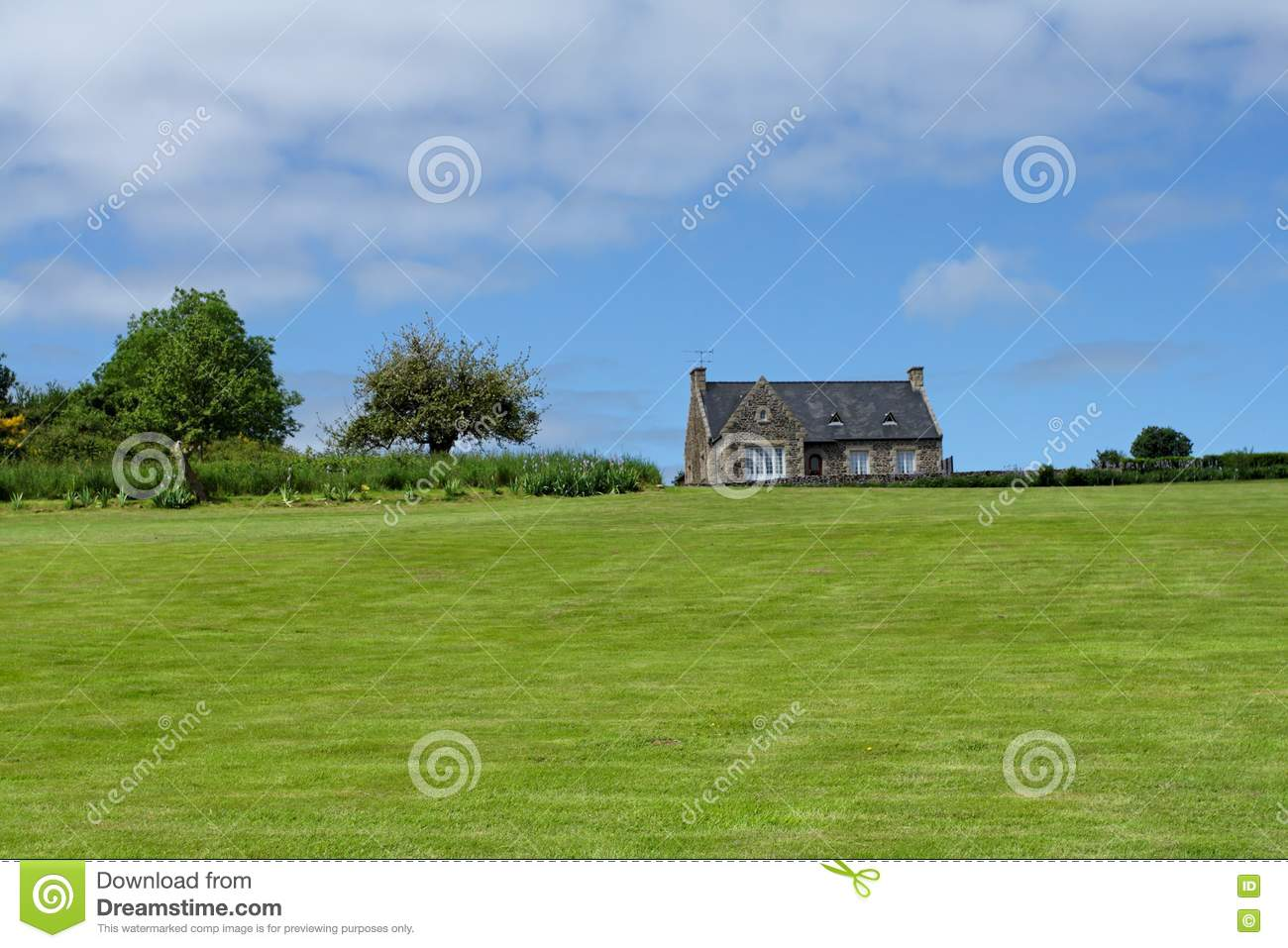 Brittany house on meadow royalty free stock photos image for Meadow house