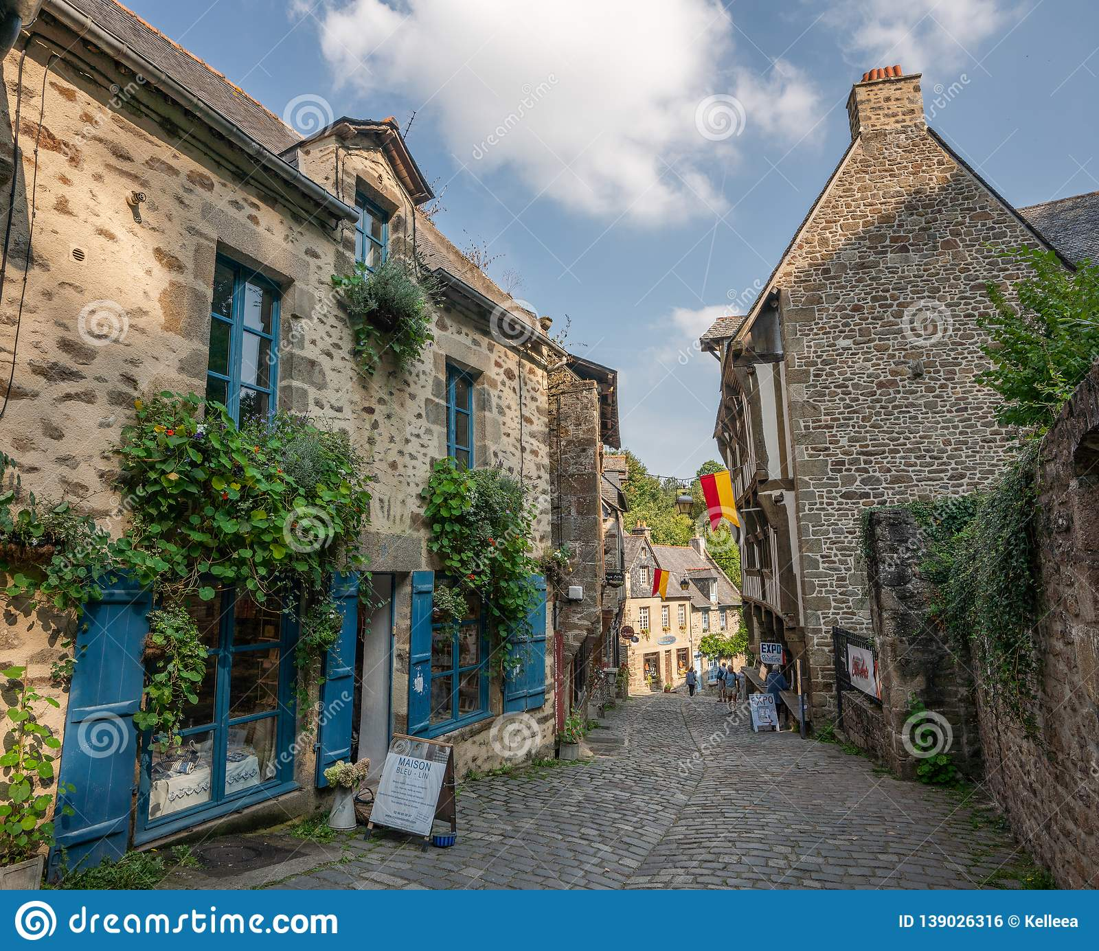 Stone buildings in the old town center of medieval Dinan France.