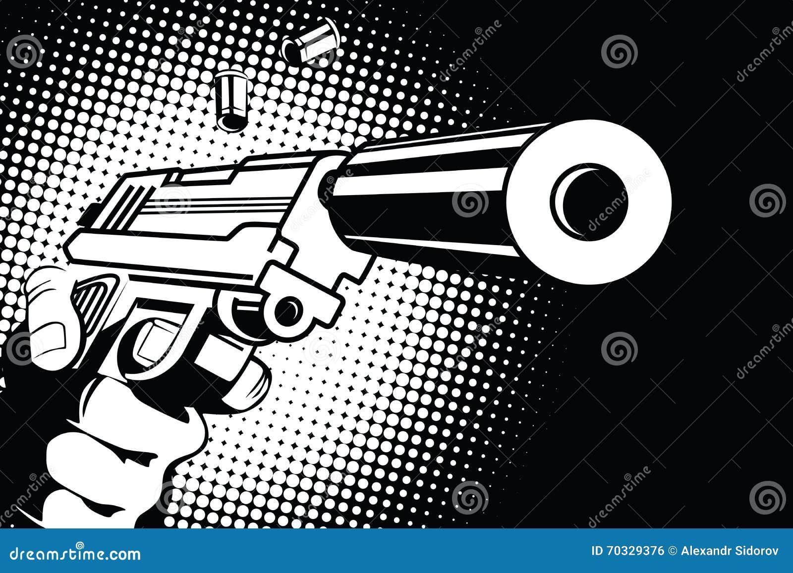 Broń w ręce w stylu wystrzał sztuki