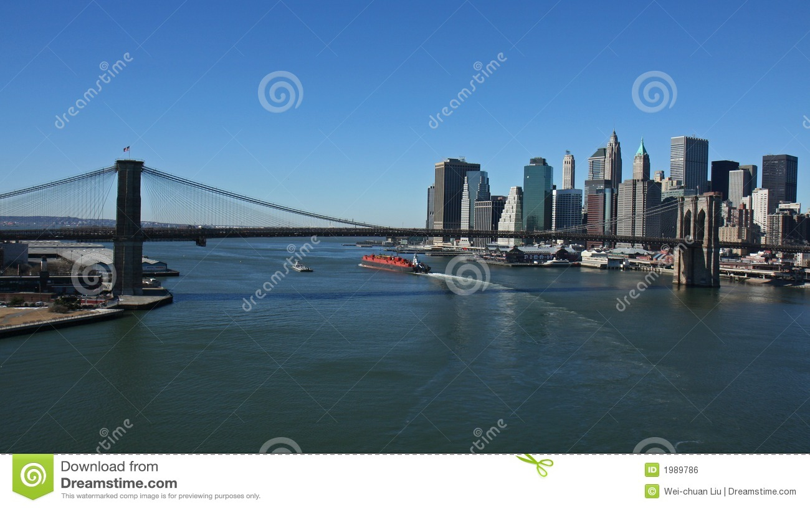Bro brooklyn panorama- lägre manhattan