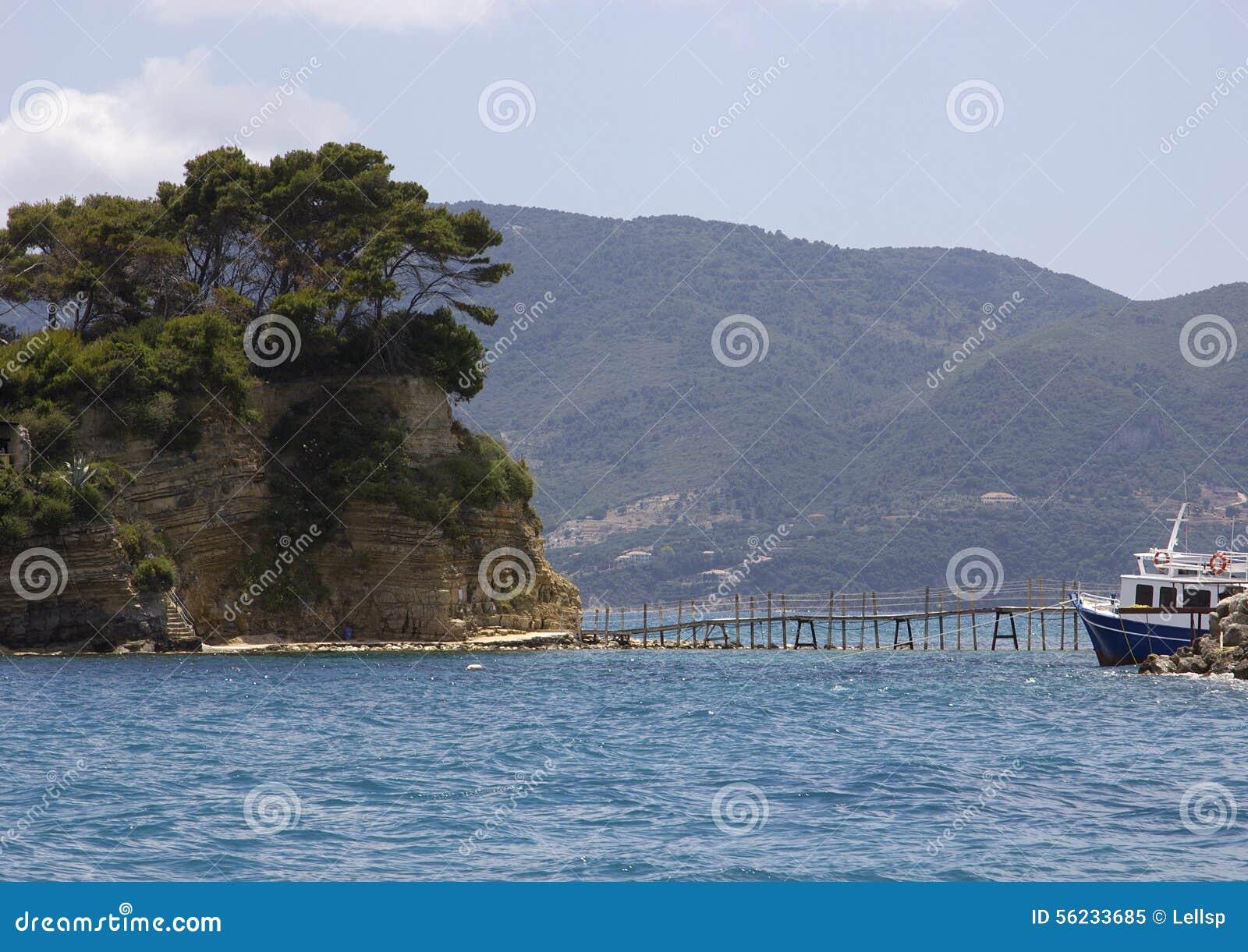 Bro till Cameo Island, Laganas fjärd, Zakinthos, Grekland
