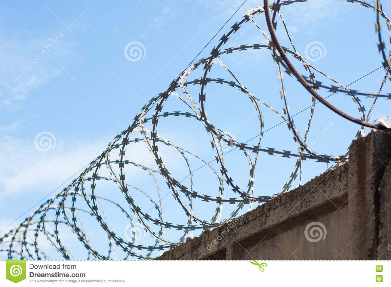 Line barbed wire focus with shallow depth of field