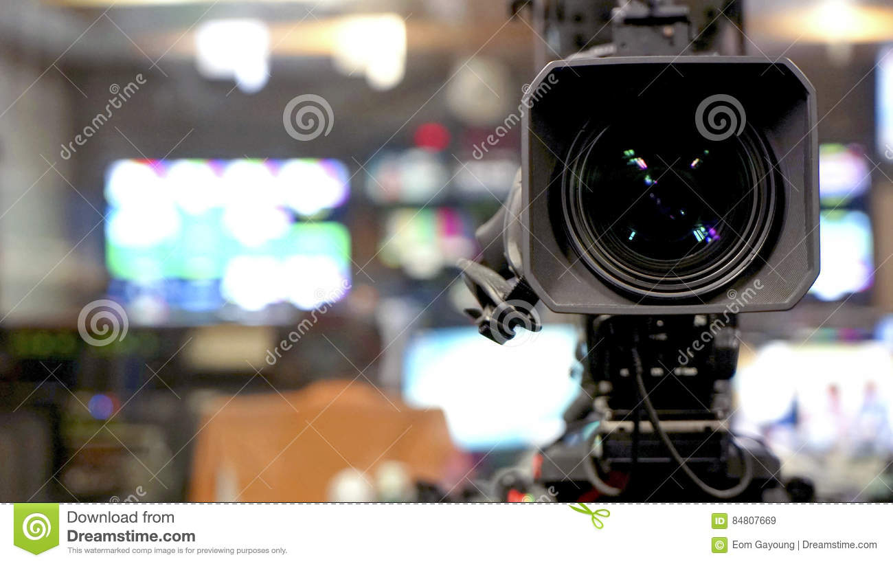 Broadcast video camera camcorder back in the studio TV show