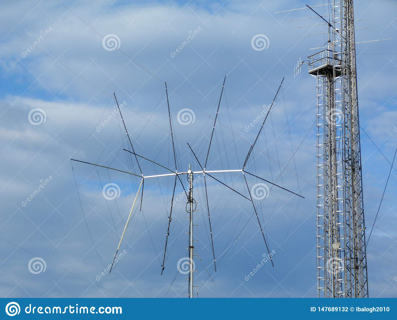 Broadcasting and cell transmitter and receiver antenna and communication tower