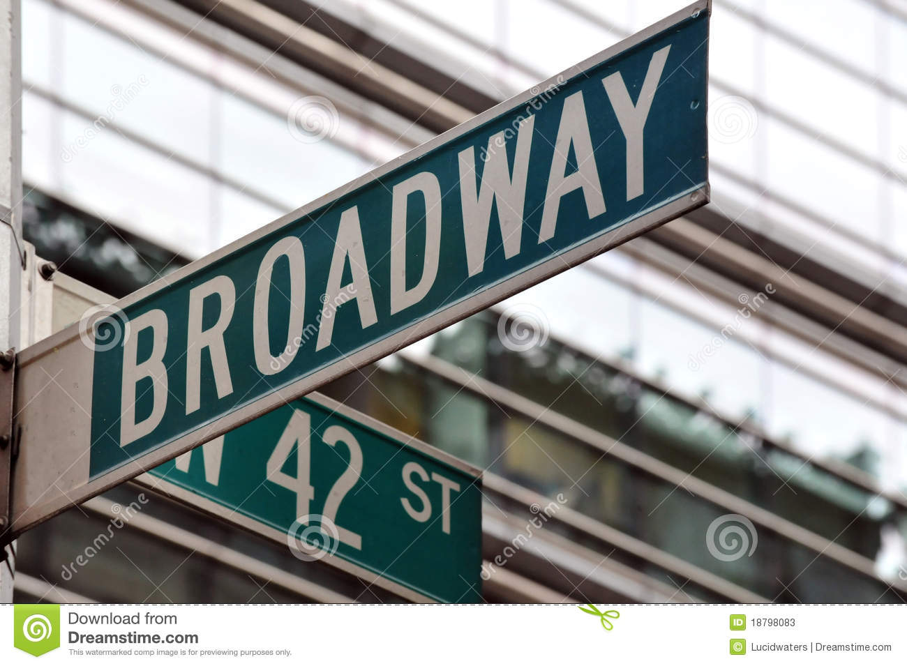 Broadway 42nd street sign stock image. Image of ...