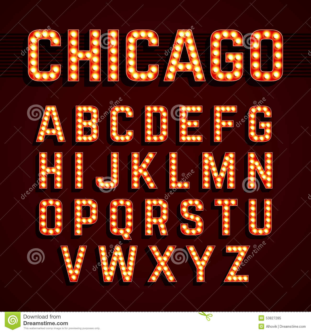 Broadway Lights Style Light Bulb Alphabet Stock Vector - Image ...