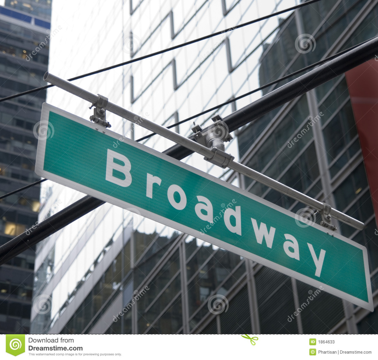 Broadway Street Sign NYC stock image. Image of sign, west ...