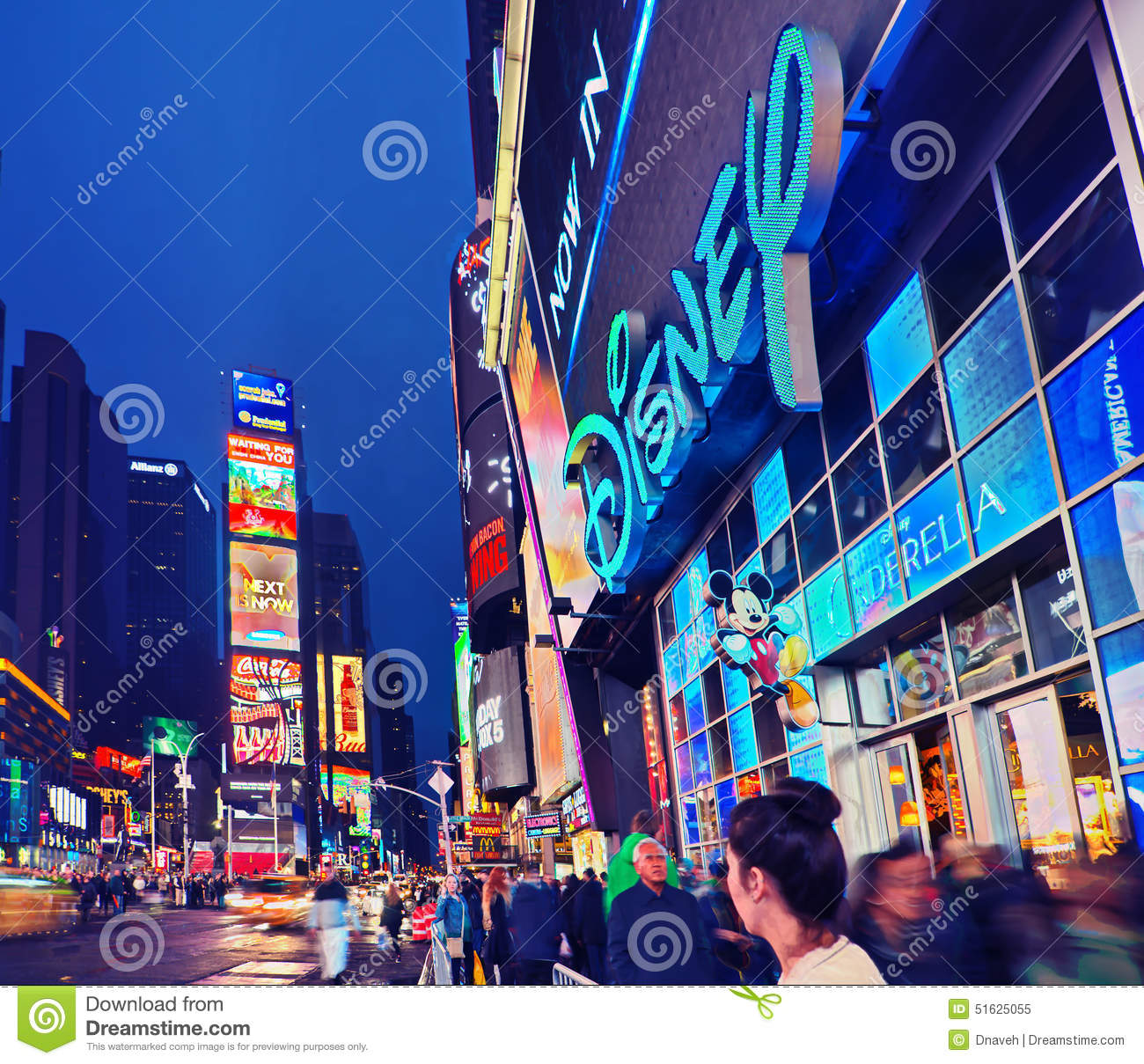 broadway times square at night new york editorial image image 51625055. Black Bedroom Furniture Sets. Home Design Ideas