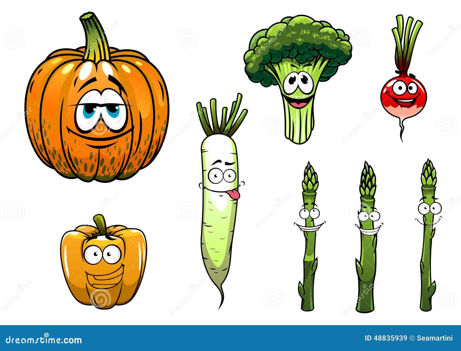 Broccoli, Asparagus, Radish,pumpkin And Pepper Stock
