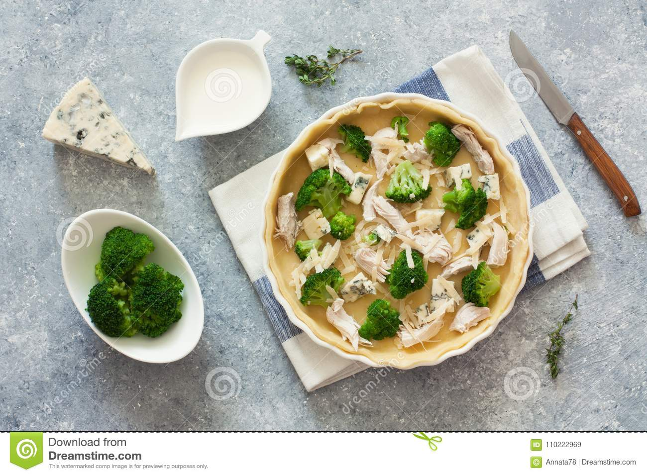 Broccoli Chicken And Cheese Pie Quiche Stock Image Image Of Bake Background 110222969
