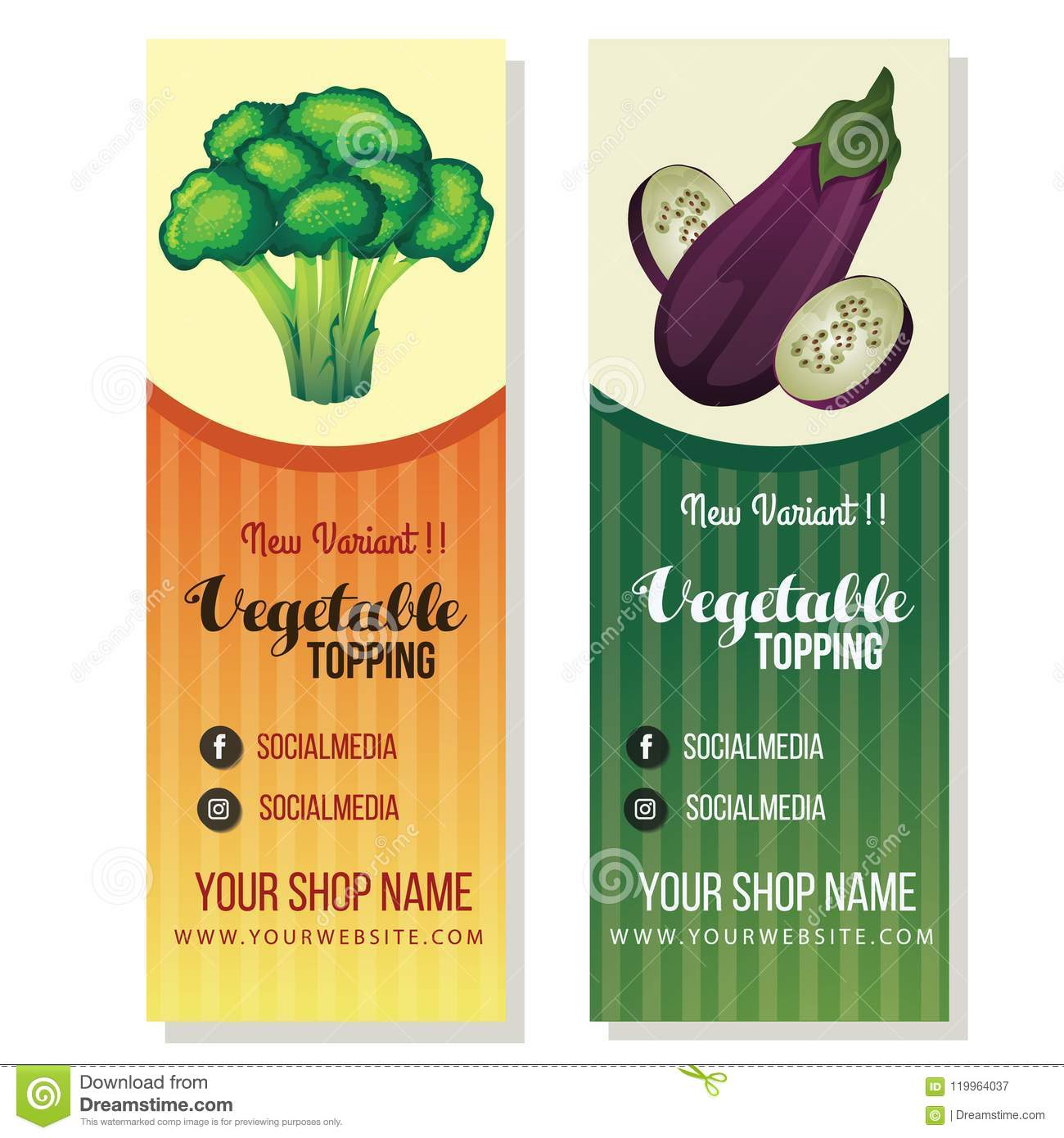 broccoli eggplant banner template stock vector illustration of