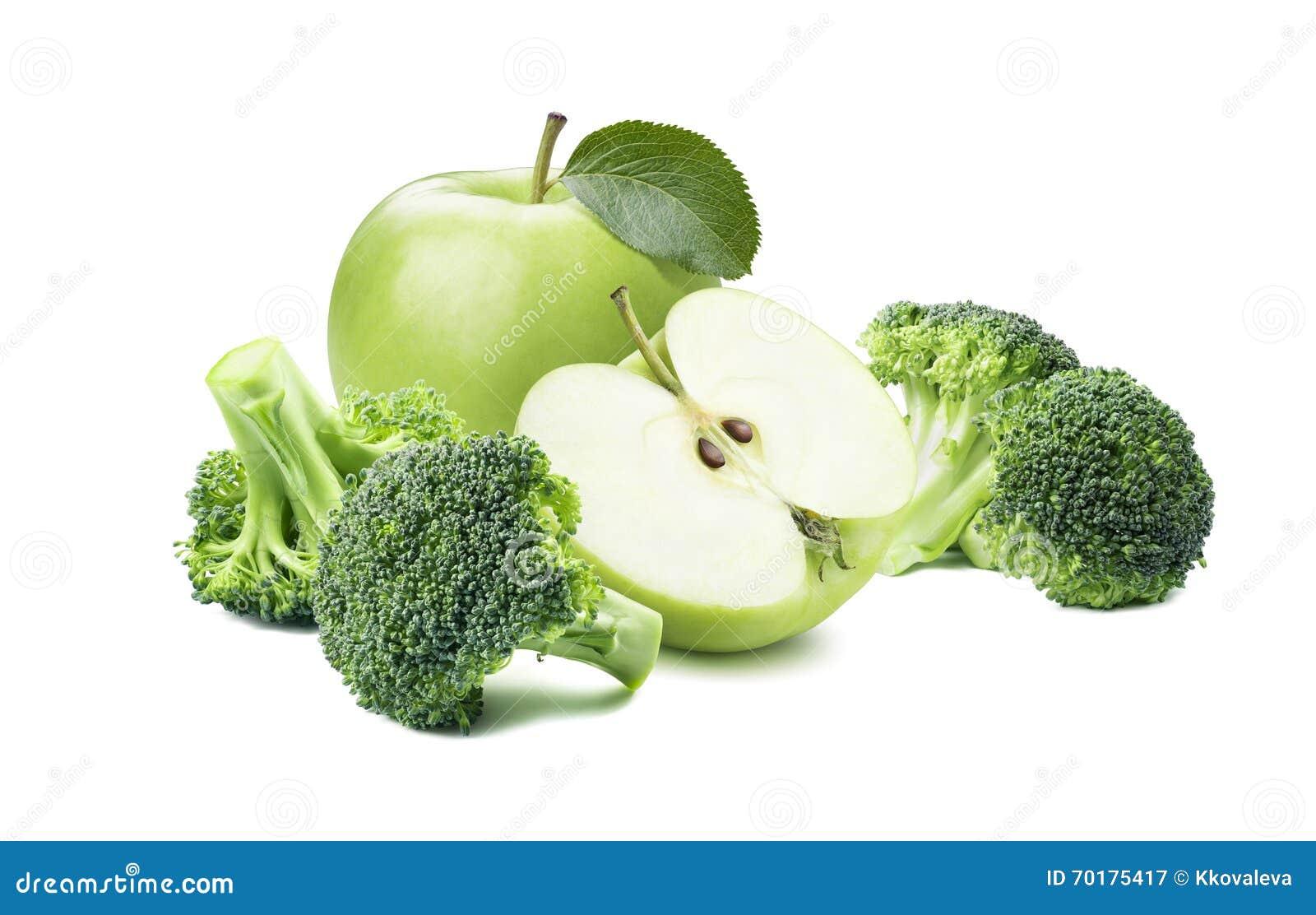 Broccoli gör grön äpple 2 som isoleras på vit bakgrund
