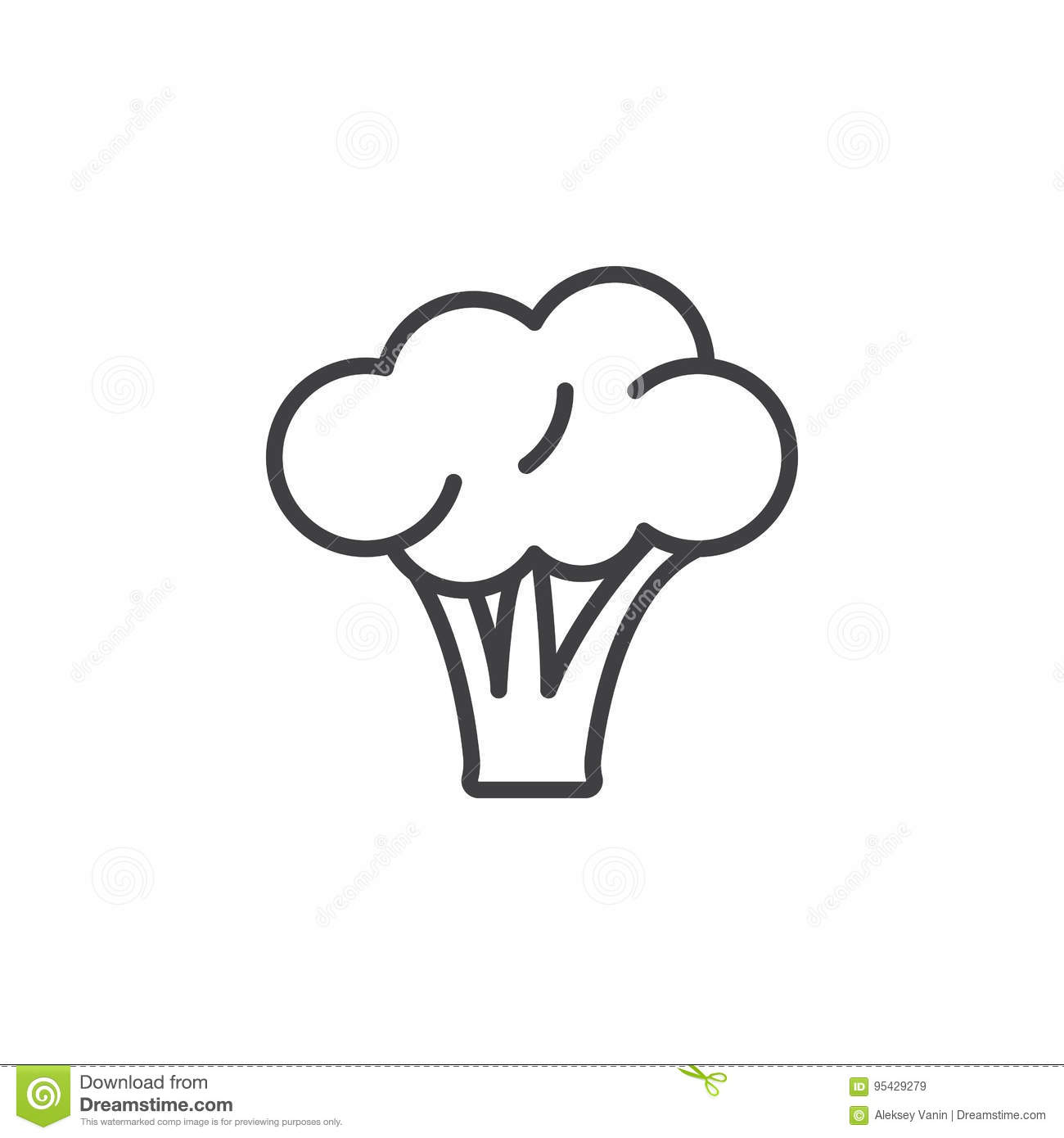 broccoli line icon outline vector sign linear pictogram isolated on white stock vector illustration of cabbage ingredient 95429279 dreamstime com