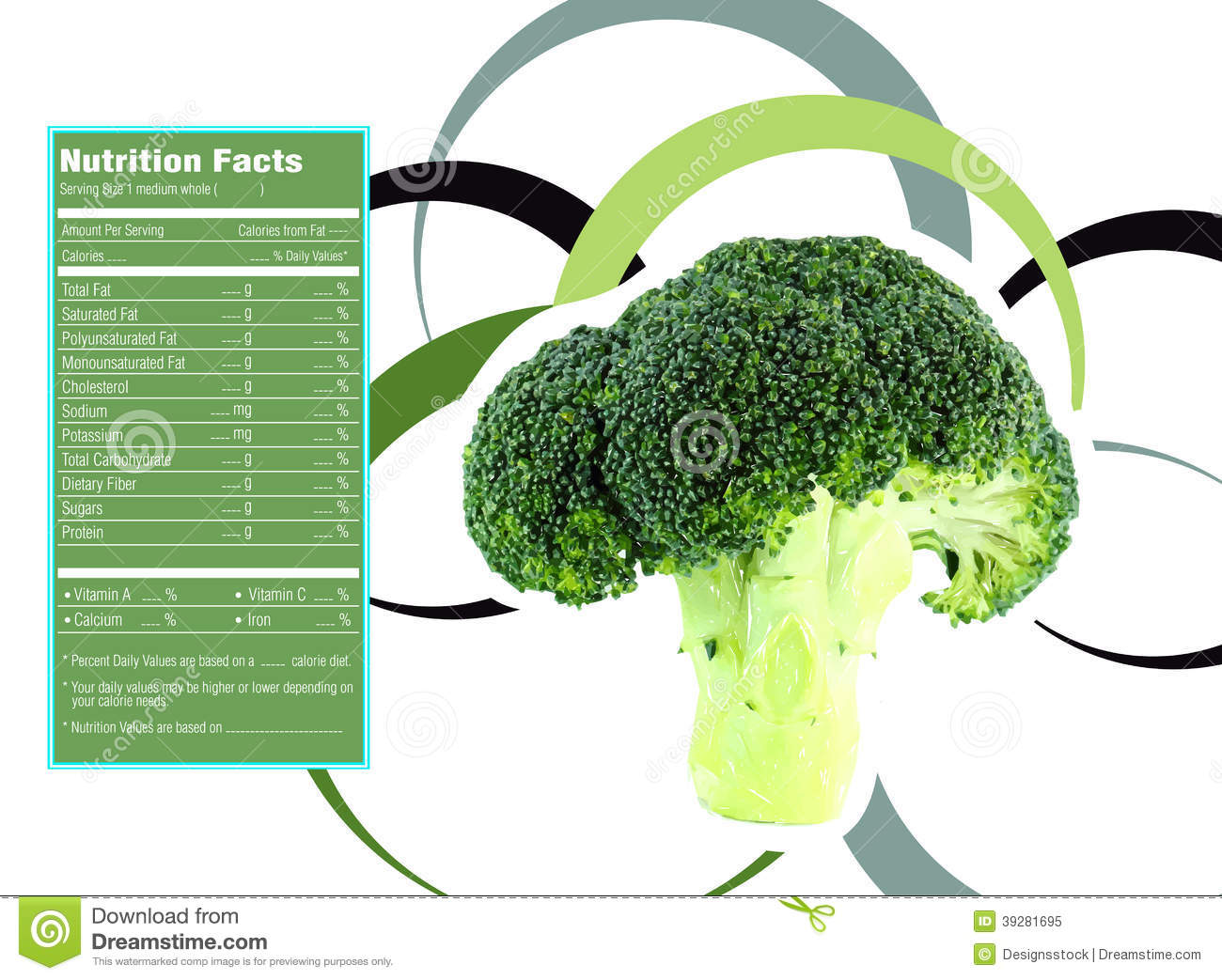 cauliflower nutrition facts stock vector - illustration of abstract