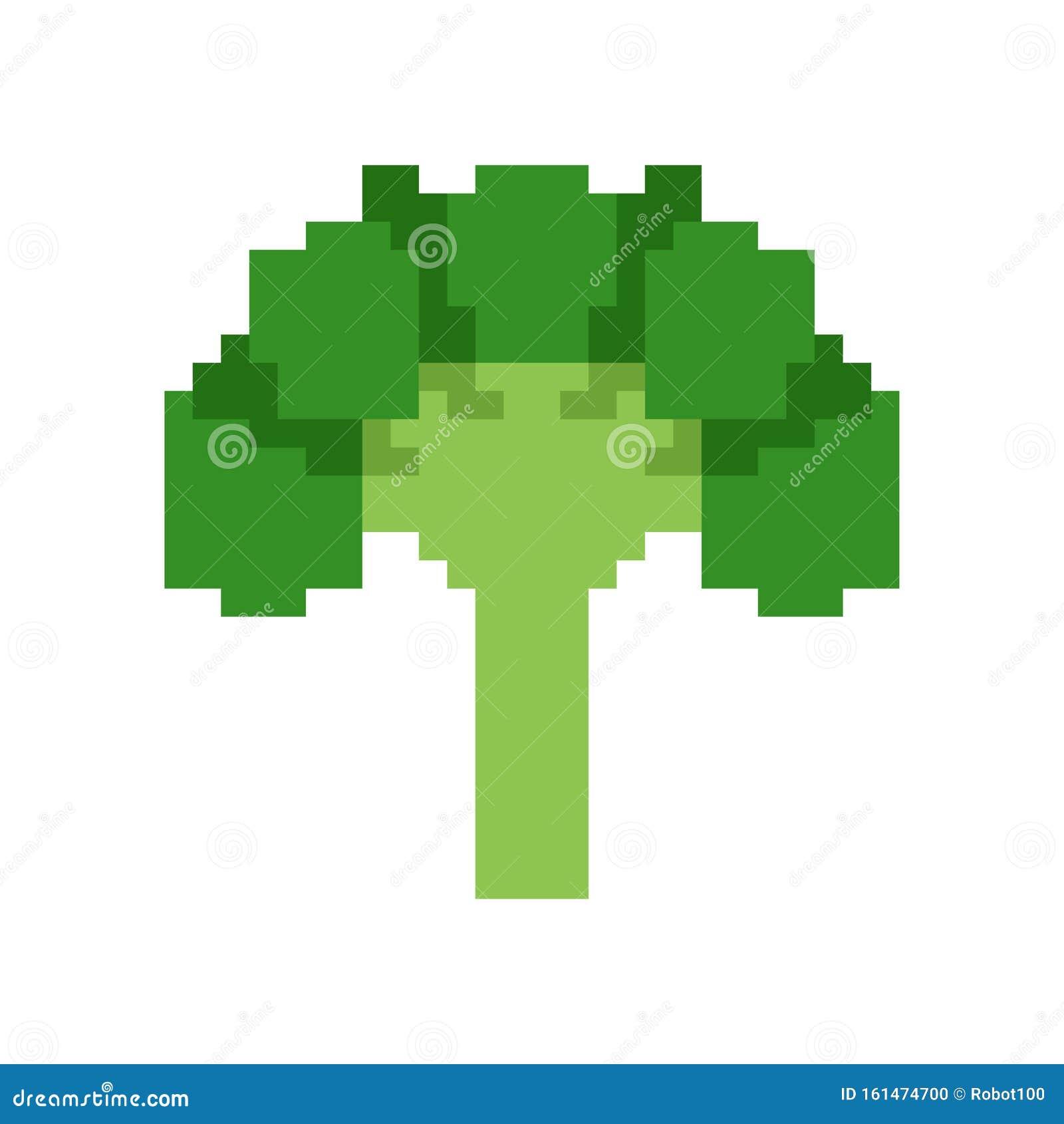 Broccoli Pixel Art. Vegetable 8 Bit. Pixelate Vector