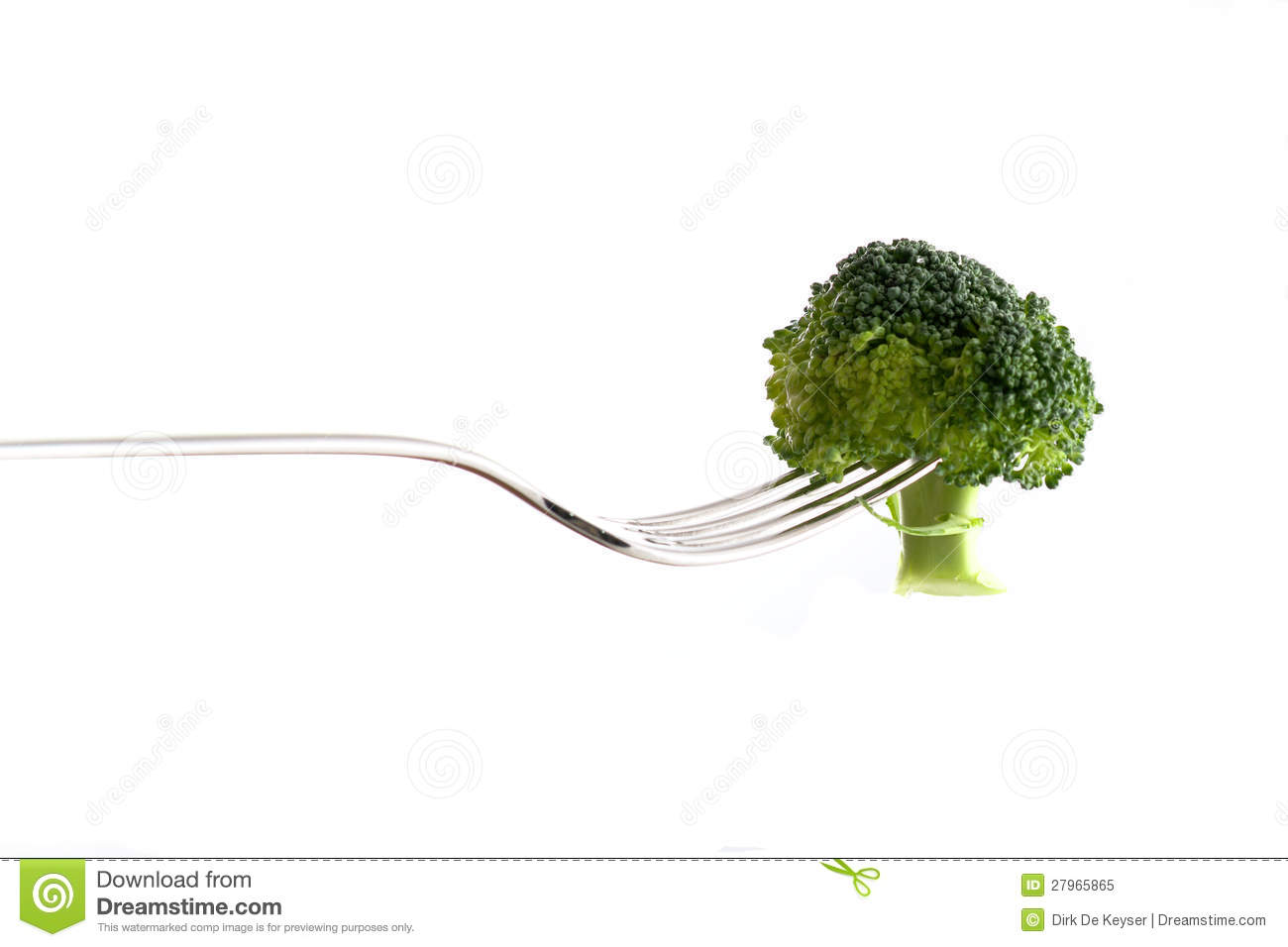 Broccoli on a silver fork
