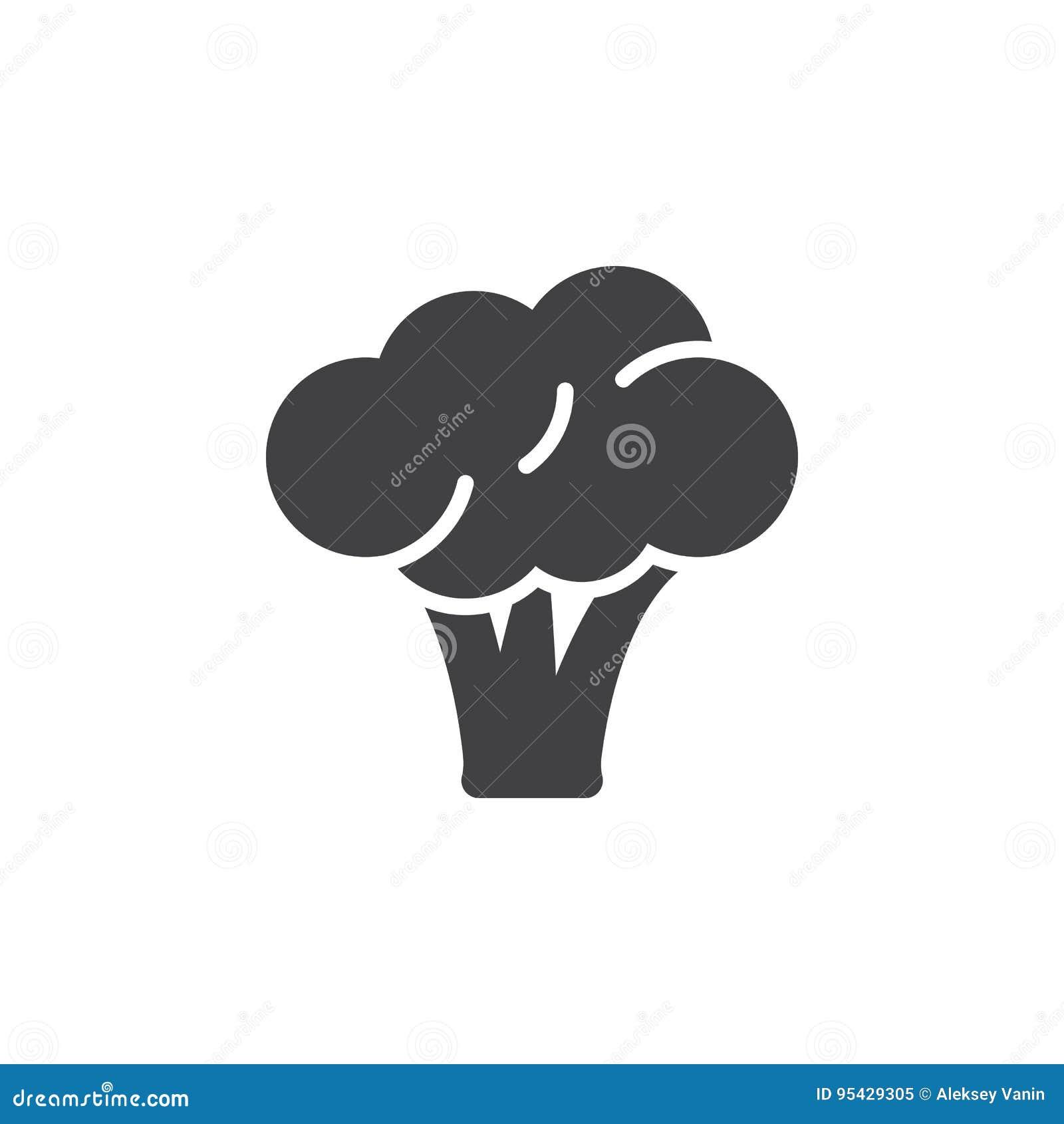 Broccolisymbolsvektor, fyllt plant tecken, fast pictogram som isoleras på vit