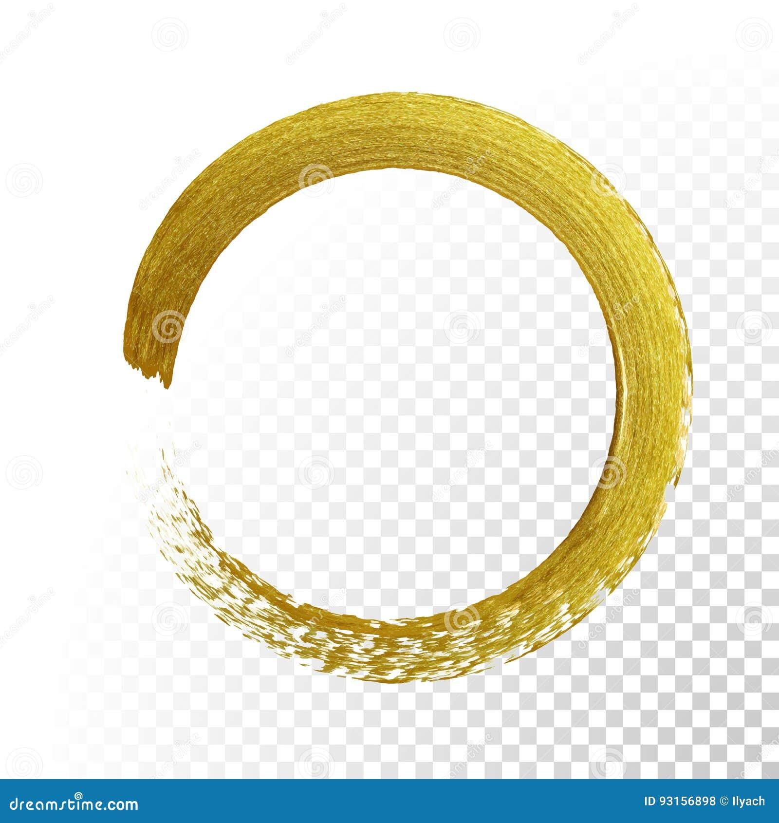 Brocha de la textura del brillo del círculo del oro en fondo transparente del vector