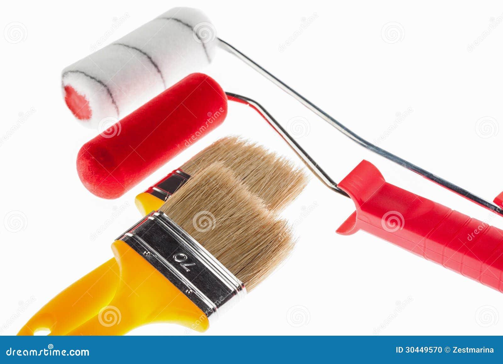 Brochas de la construcci n y rodillos de pintura foto de archivo imagen de horizontal - Brochas pintura ...