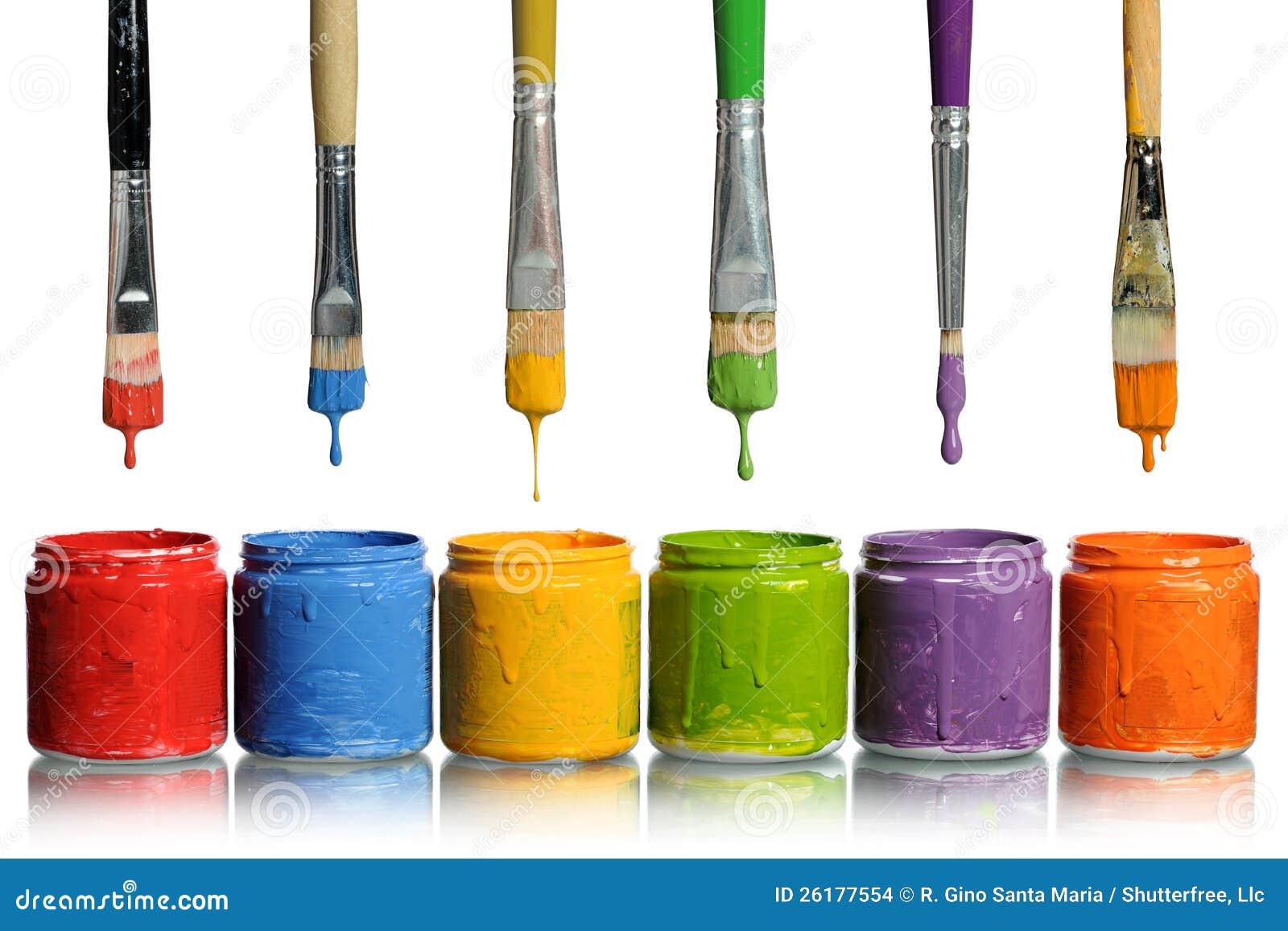 Brochas que gotean en los envases de la pintura foto de archivo imagen 26177554 - Brochas pintura ...
