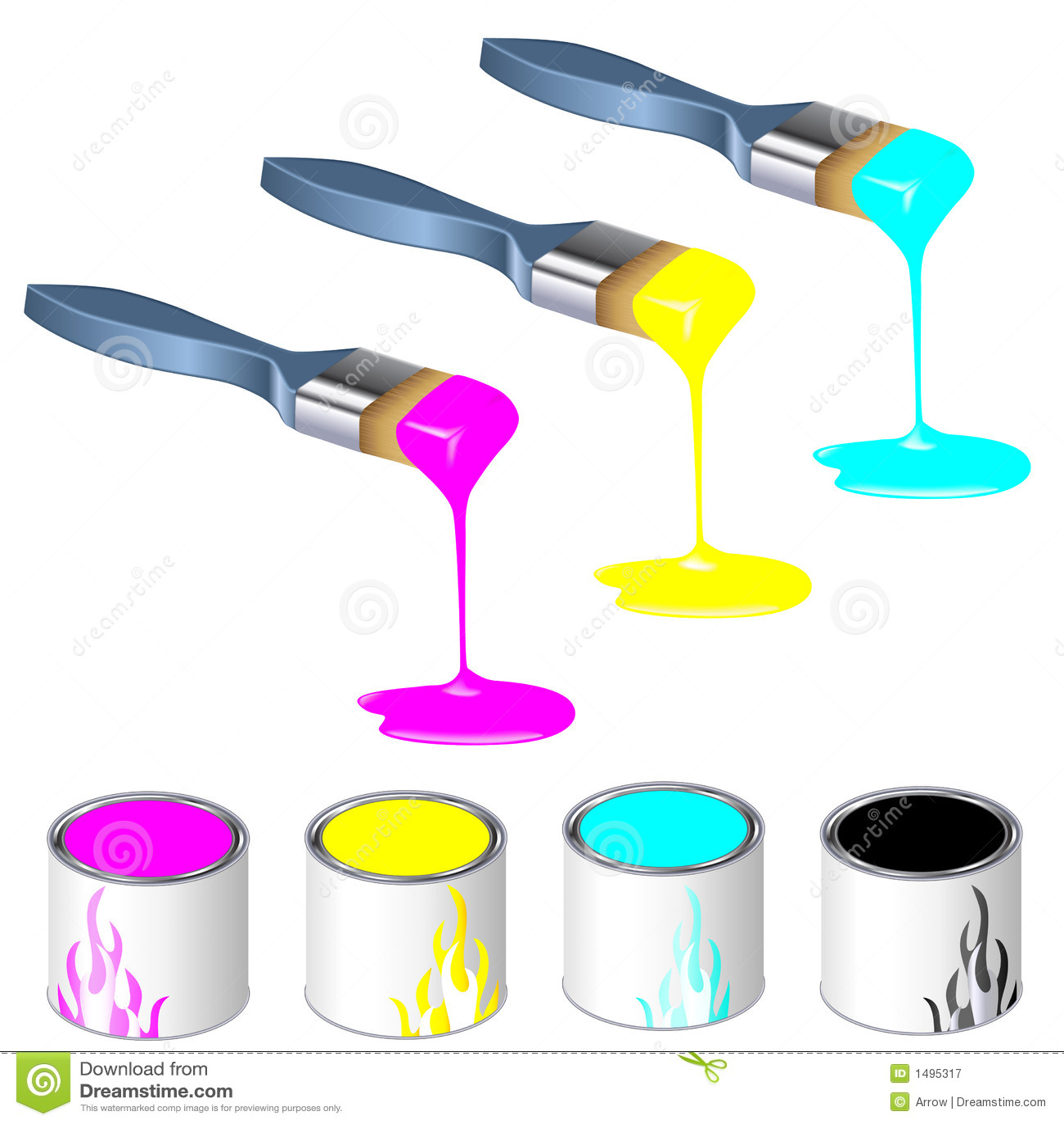 Brochas tricolores con las latas de la pintura fotograf a de archivo libre de regal as imagen - Brochas pintura ...
