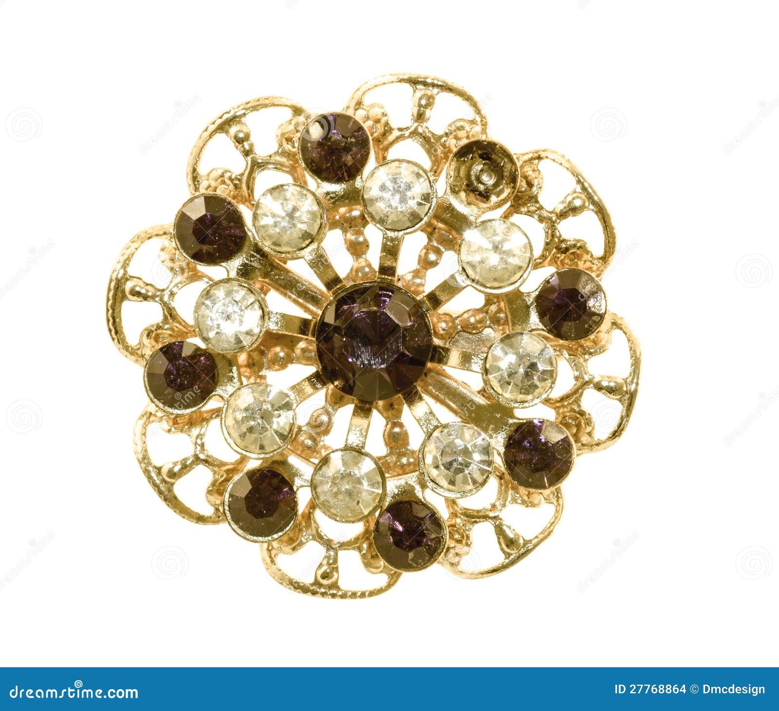 Broche d or de cru avec la pleine PA de découpage