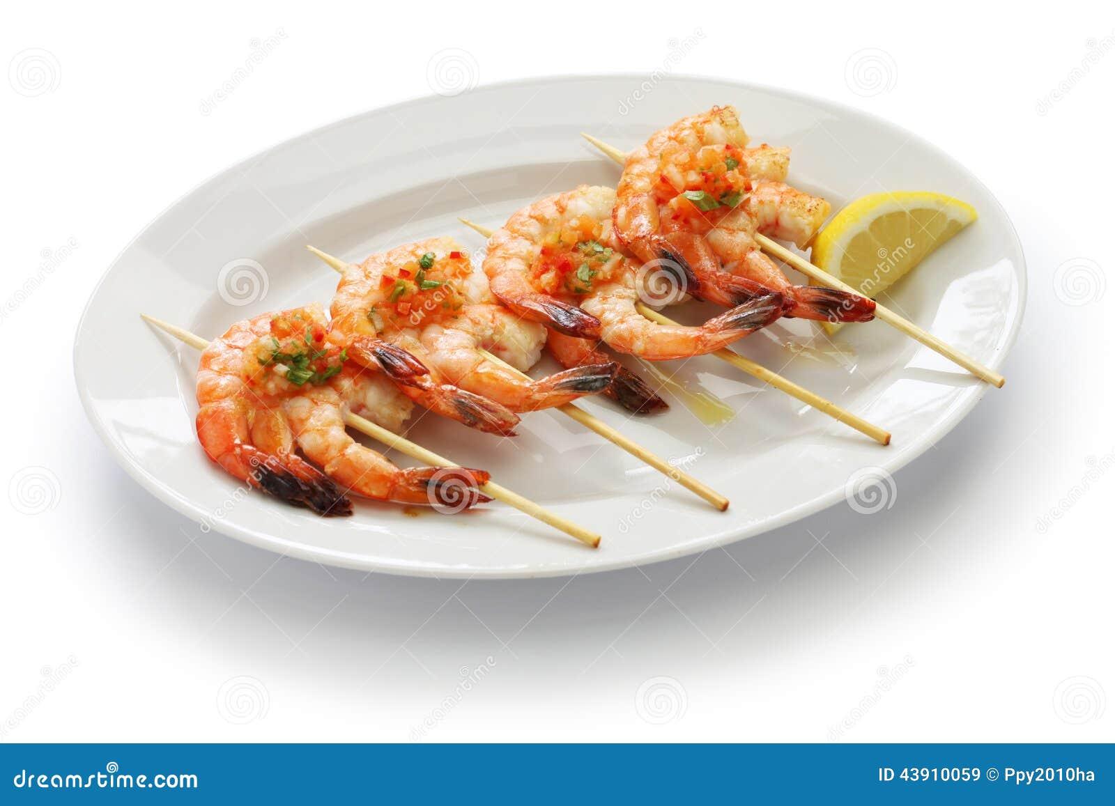 Brochetas de gambas spanish grilled shrimp skewers stock for Brochetas de gambas