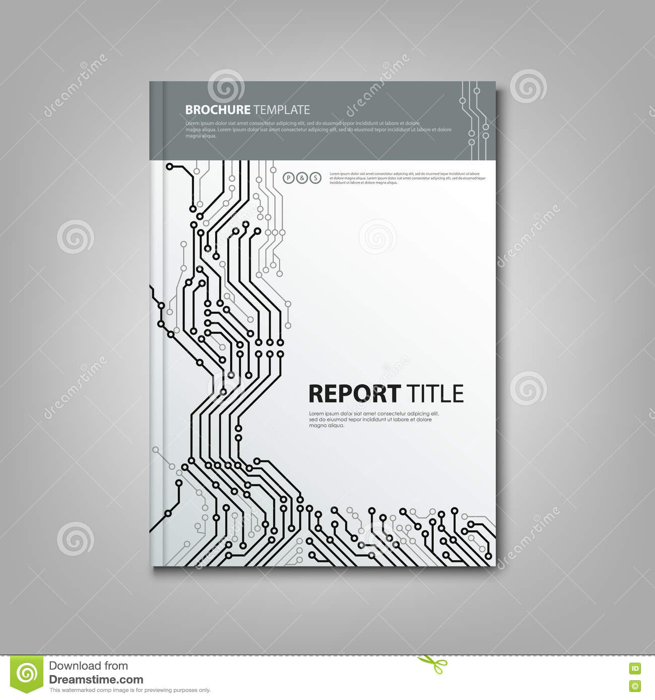 brochure book with design printed circuit board template stock