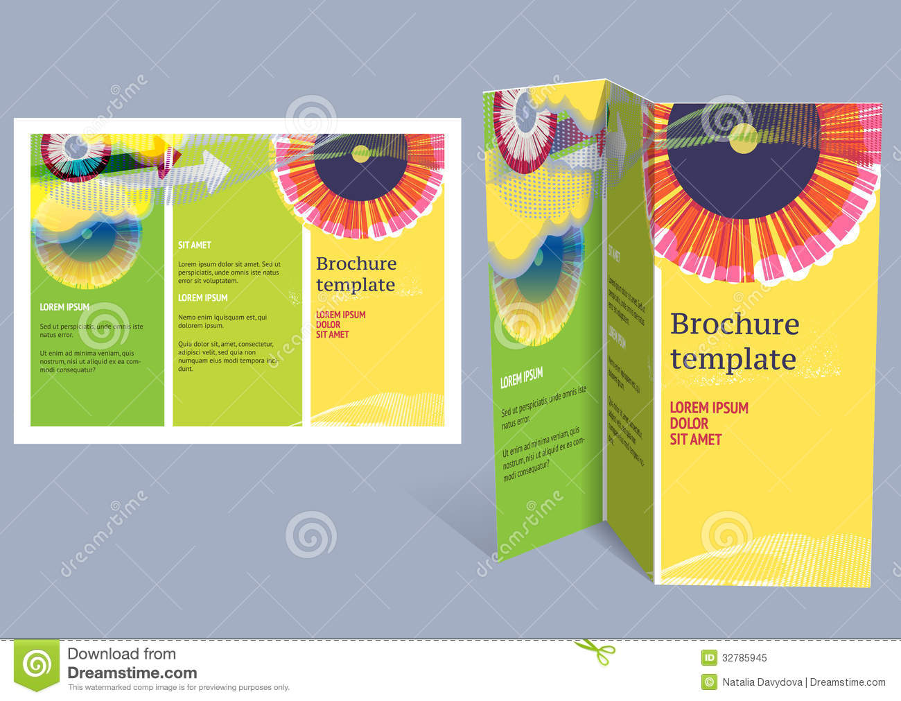 Brochure booklet z fold layout editable design t stock for Free flyer brochure templates