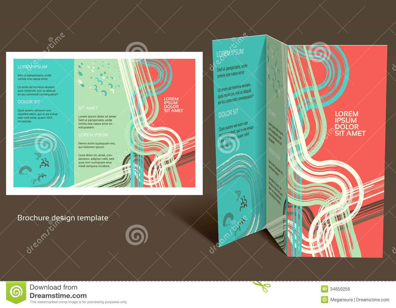 Brochure booklet z fold layout editable design t royalty for Foldable booklet template