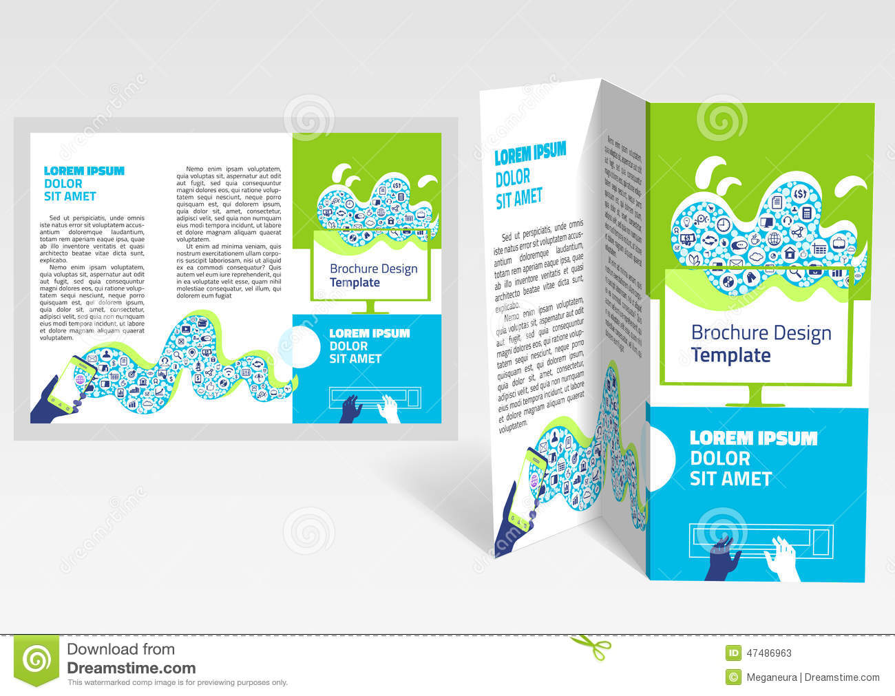 Brochure booklet z fold layout editable design template for Foldable booklet template