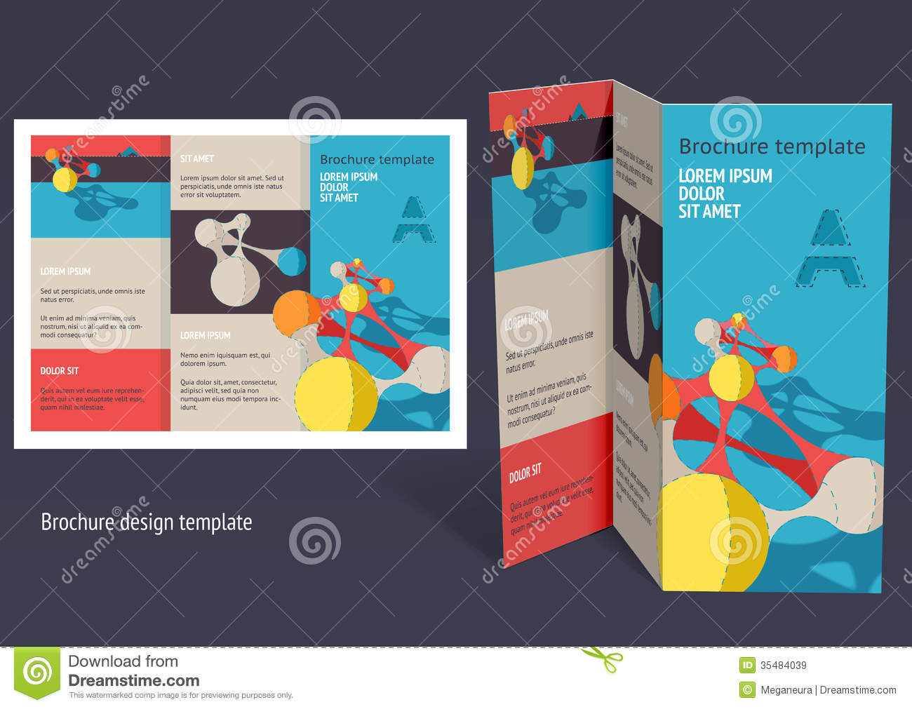 Brochure booklet z fold layout editable design template for Free brochure layout template