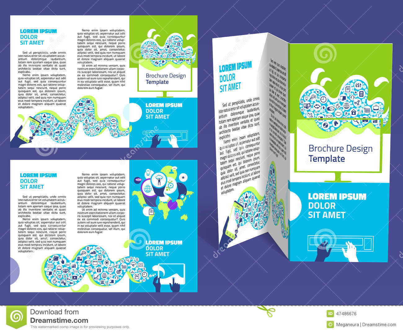 Brochure booklet z fold layout editable design template for Two fold brochure design