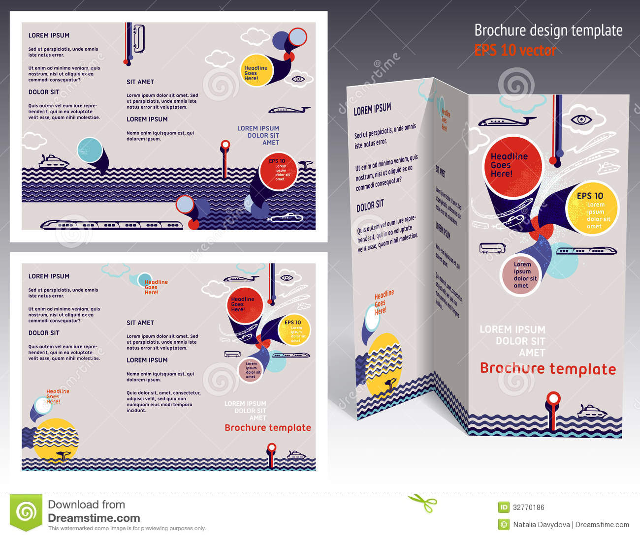 Brochure booklet z fold 2 side layout editable design for Booklet brochure template