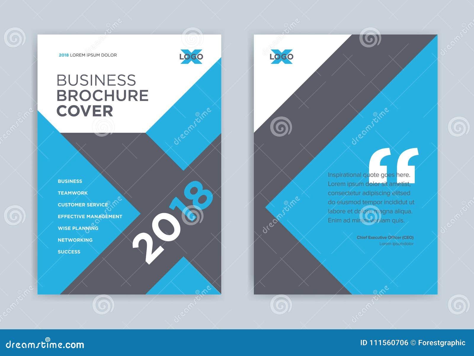Brochure cover design blue color - x shape