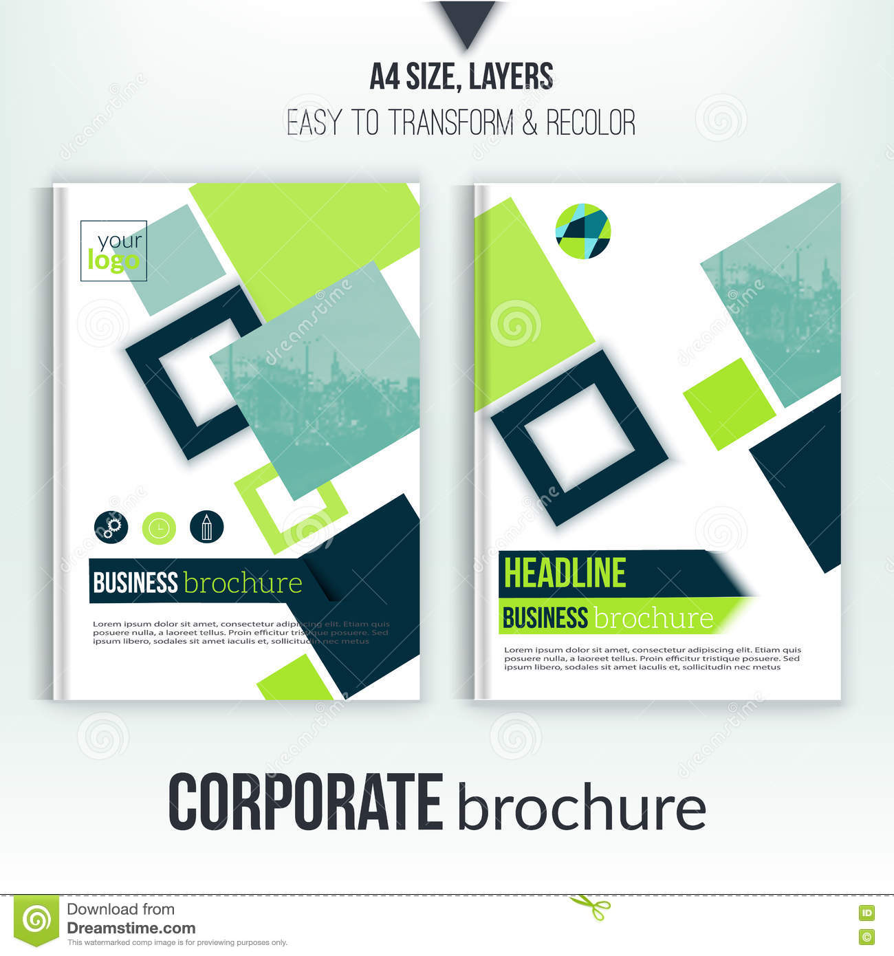 green vector brochure cover template business annual report brochure cover template blurred city landscape flyer professional corporate identity green clean