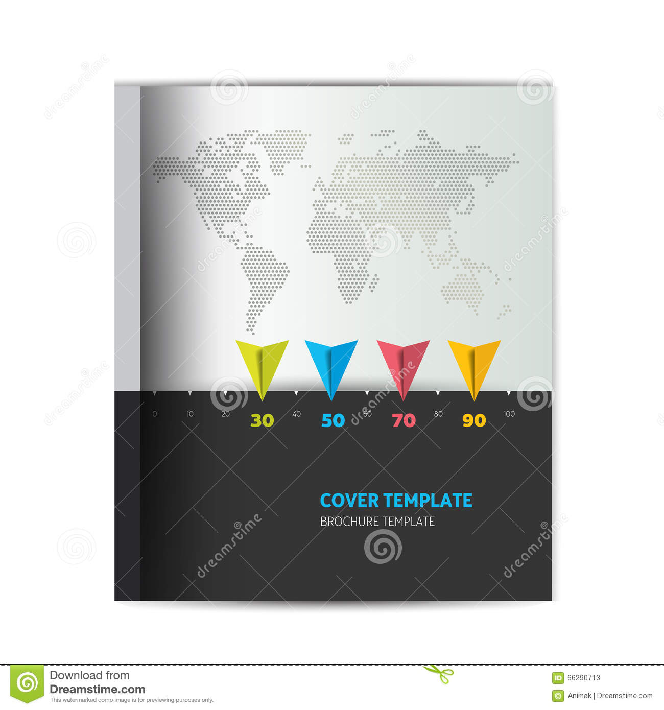 Modern Book Cover Map : Brochure cover template simply black ang grey design with