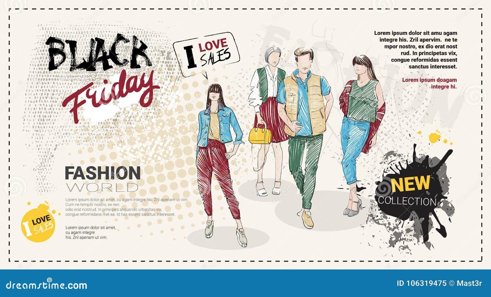 Brochure de calibre de vente de Black Friday avec les mannequins et l espace tirés par la main de copie, nouvelle collection de r