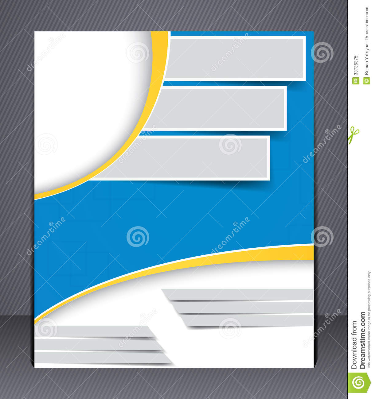 Brochure design in blue and yellow colors stock vector for Booklet brochure template