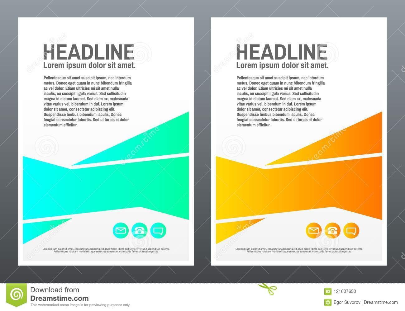 brochure design template bright shapes on white background creative design for flyer banner poster in a4 trendy vector illustration