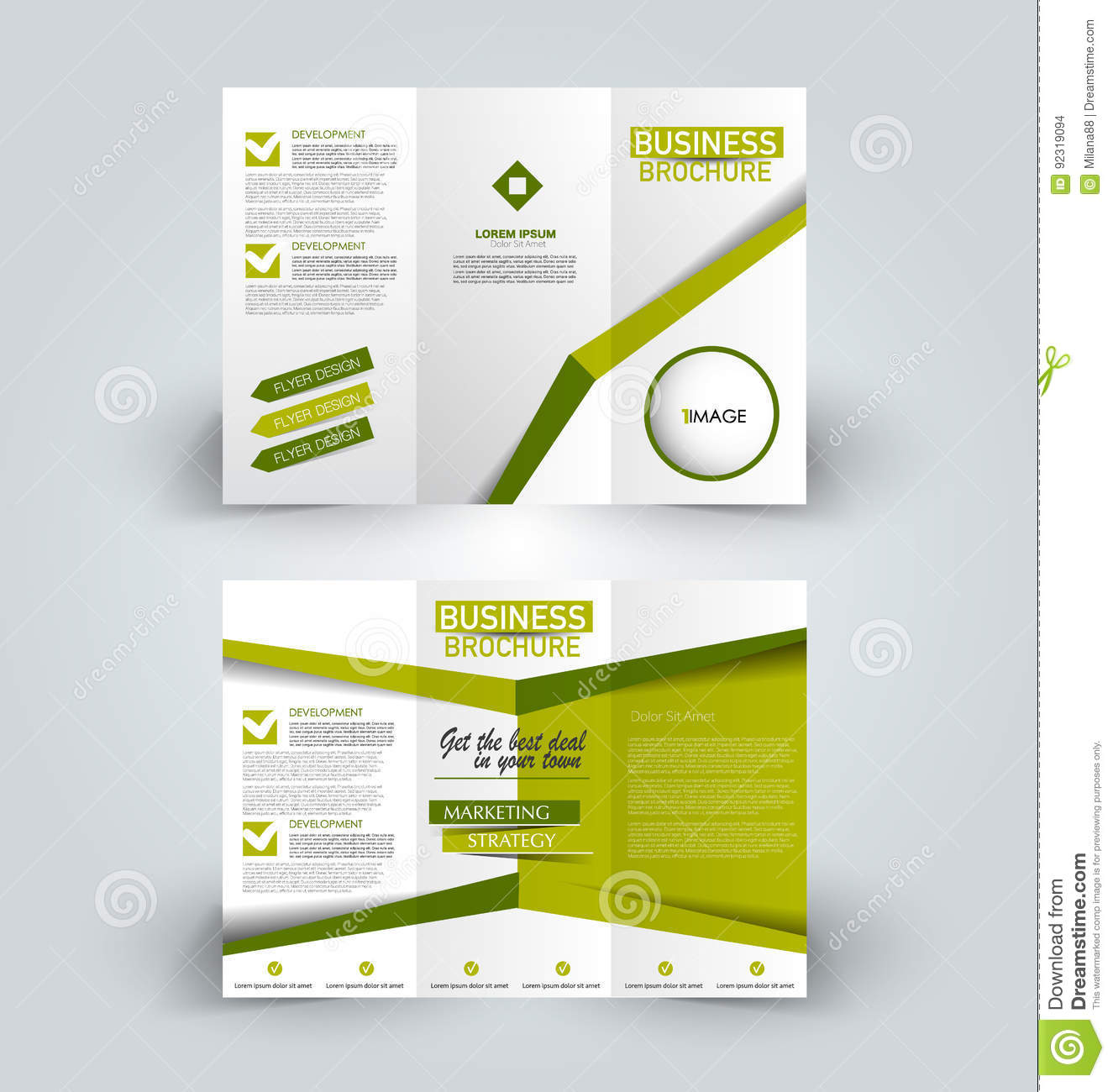 Brochure design template for business education advertisement. Trifold booklet