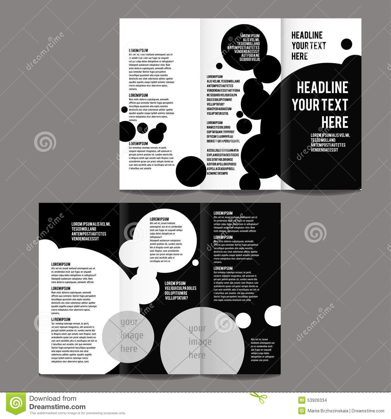 Brochure design template stock vector image of print for Black brochure template
