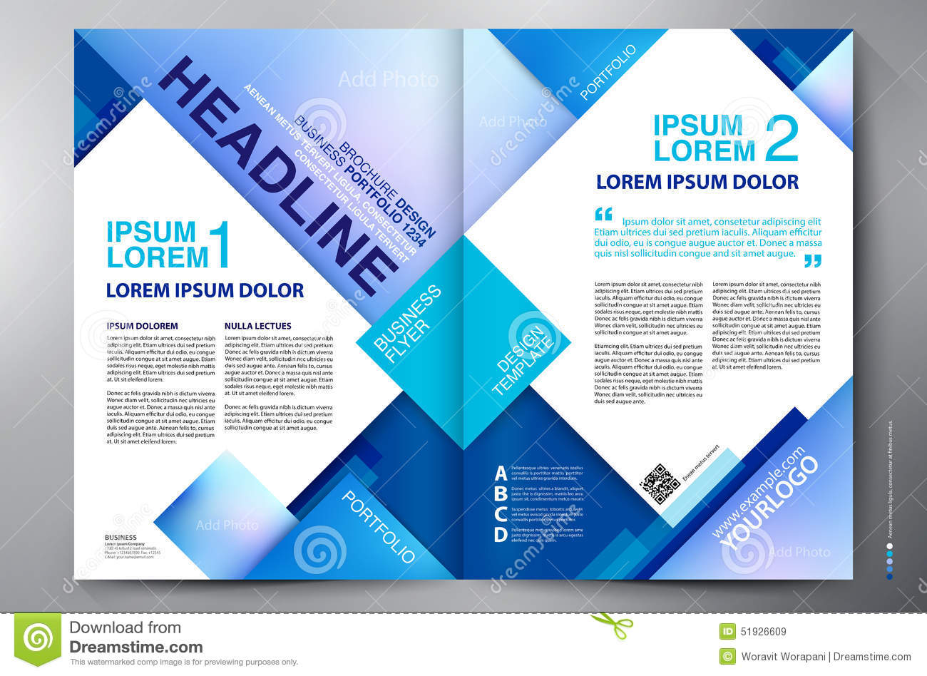 brochure design two pages a4 template stock vector